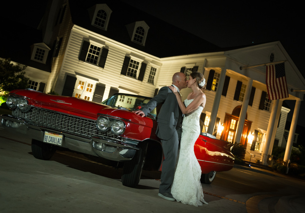 Artistic wedding photography, couples portrait, red cadillac, Pine Lakes Country Club