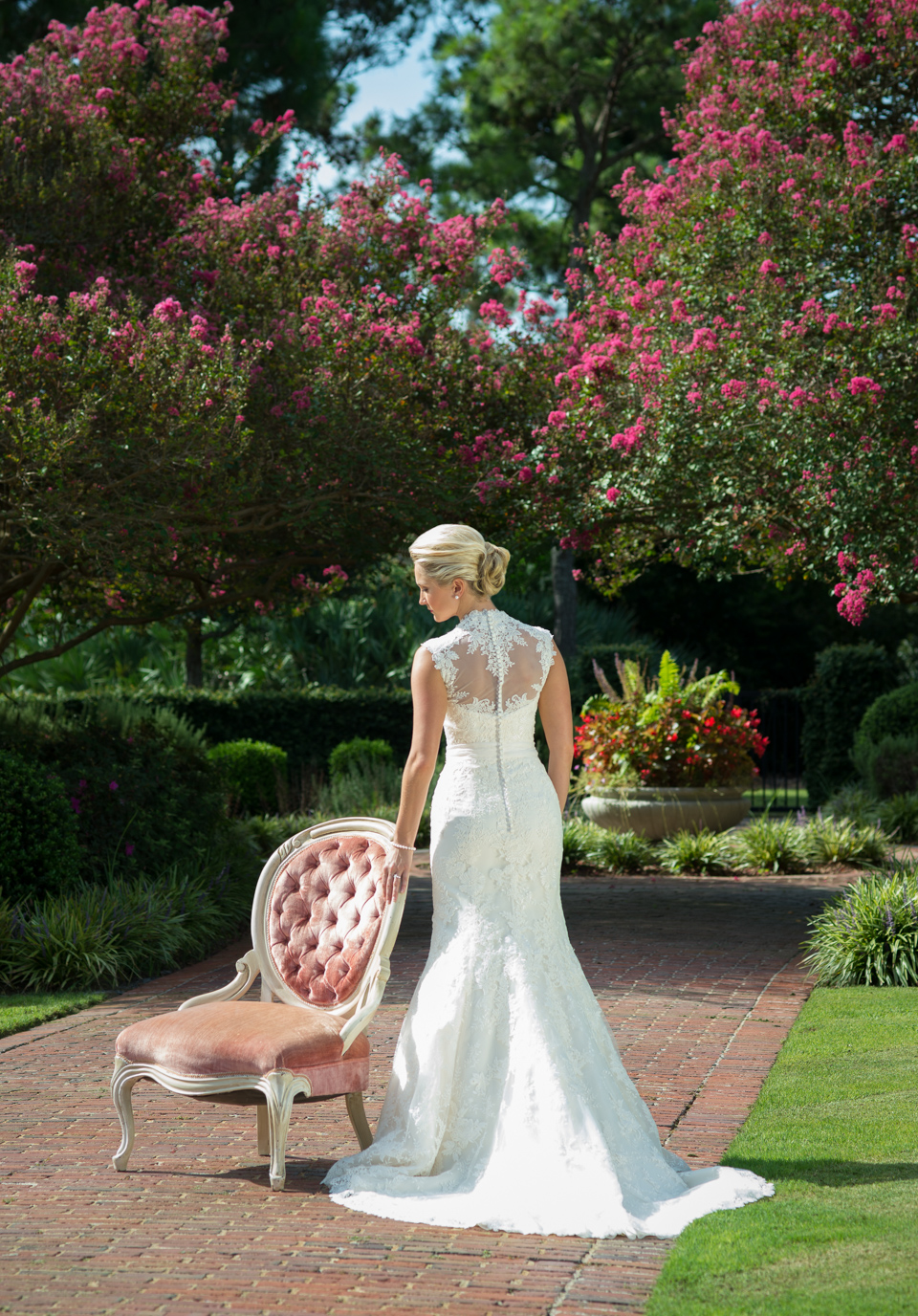 bridal portrait with antique chair