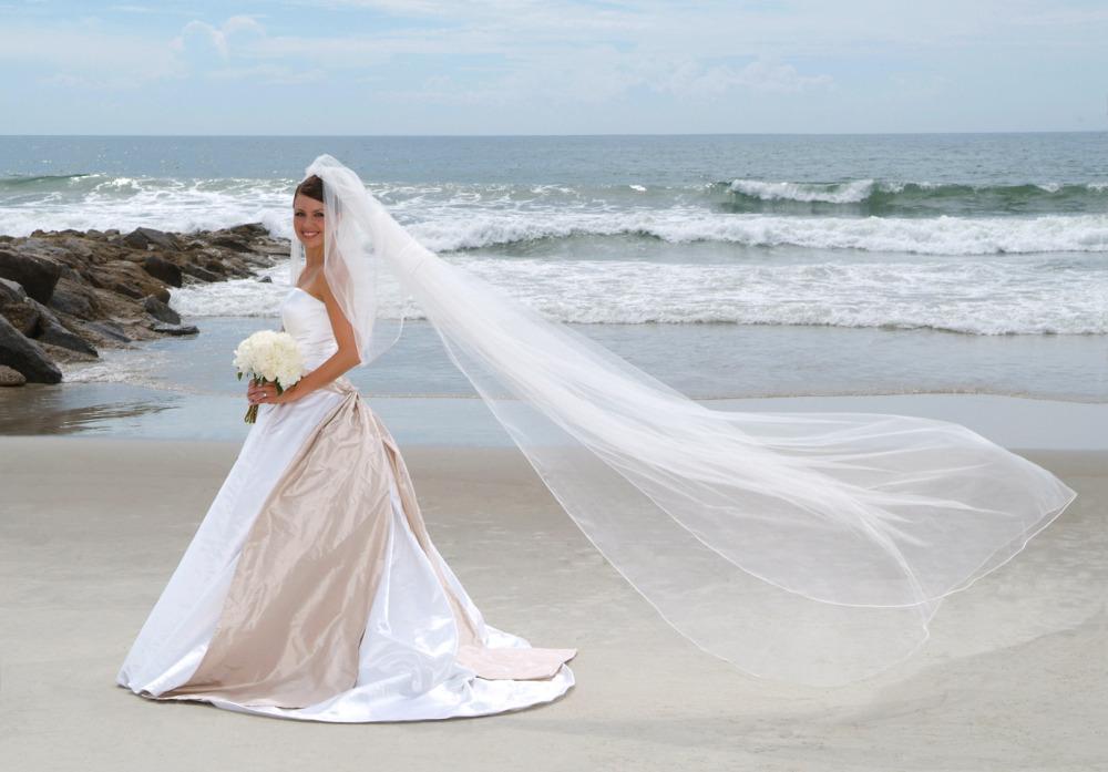 beach bridal portrait, vera wang dress