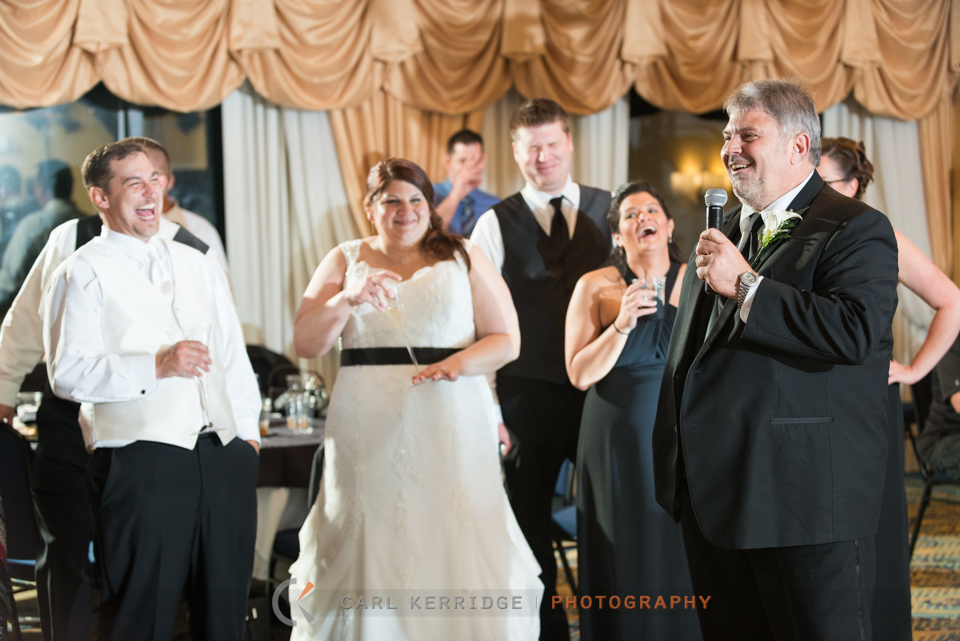 Myrtle Beach Wedding Photographer, Photojournalism, BW Wedding Image, Breakers Resort, Reception, party, Fathers toast