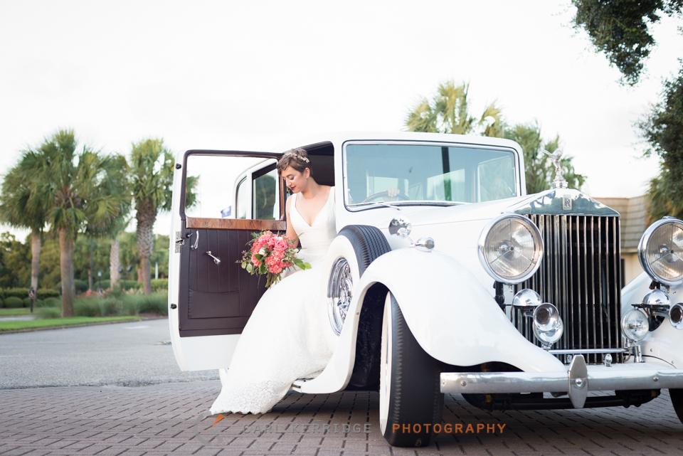 styled photo shoot with bridal portraits and a Rolls Royce at The Dunes Club in Myrtle Beach, South Carolina